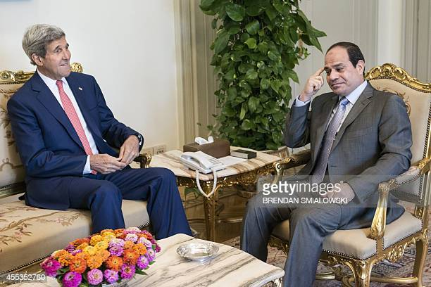 US Secretary of State John Kerry meets with Egyptian President Abdel Fattah alSisi at the presidential palace in Cairo September 13 2014 Kerry...