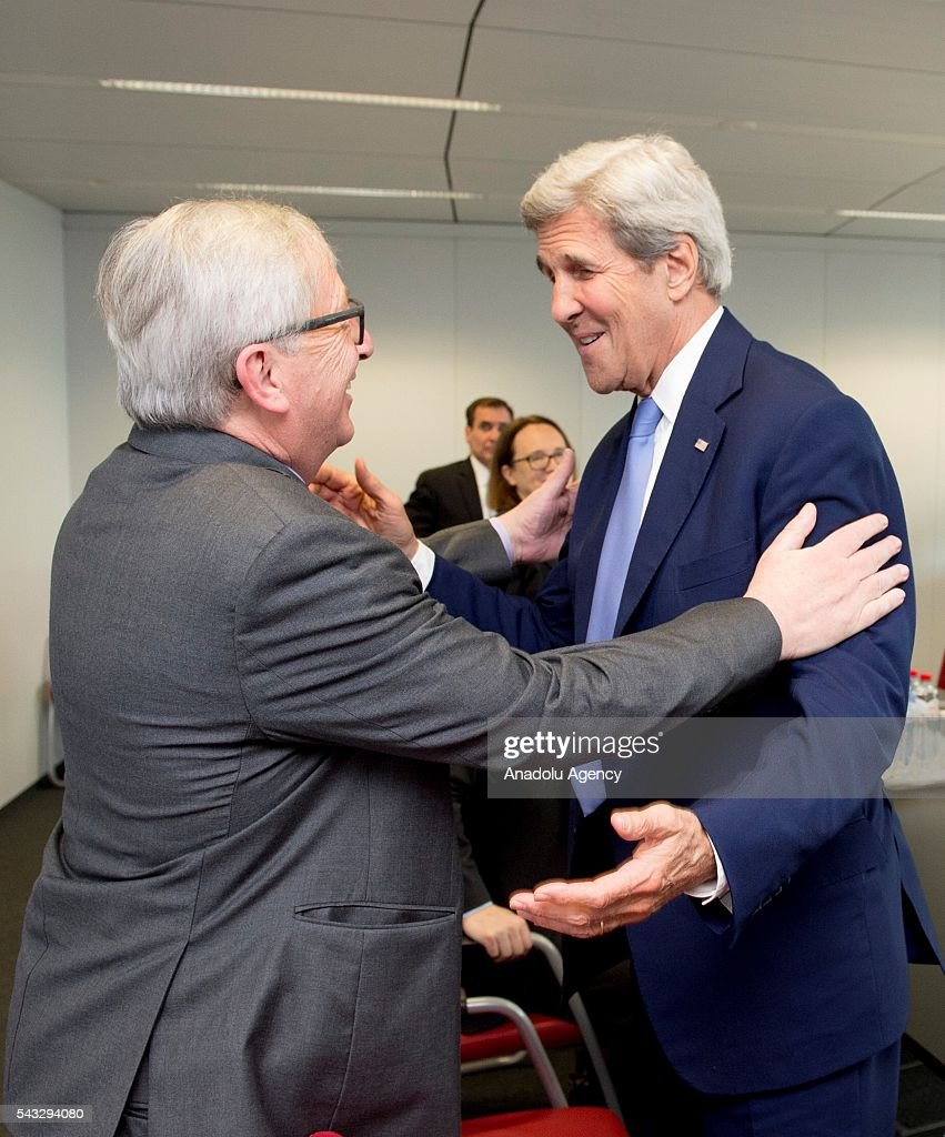 US Secretary of State John Kerry (R) meets with European Commission President Jean-Claude Juncker (L) in Brussels, Belgium on June 27, 2016.