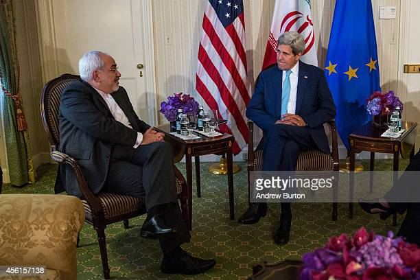 S Secretary of State John Kerry meets with Iranian Foreign Minister Mohammad Javad Zarif and EU High Representative Lady Catherine Ashton on...