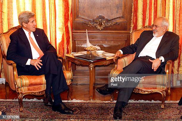 S Secretary of State John Kerry meets with Iranian Foreign Minister Mohammad Javad Zarif at the United Nations April 27 in New York City The two were...