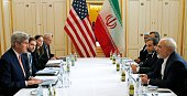 US Secretary of State John Kerry meets with Iranian Foreign Minister Javad Zarif in Vienna Austria on January 16 on what is expected to be...