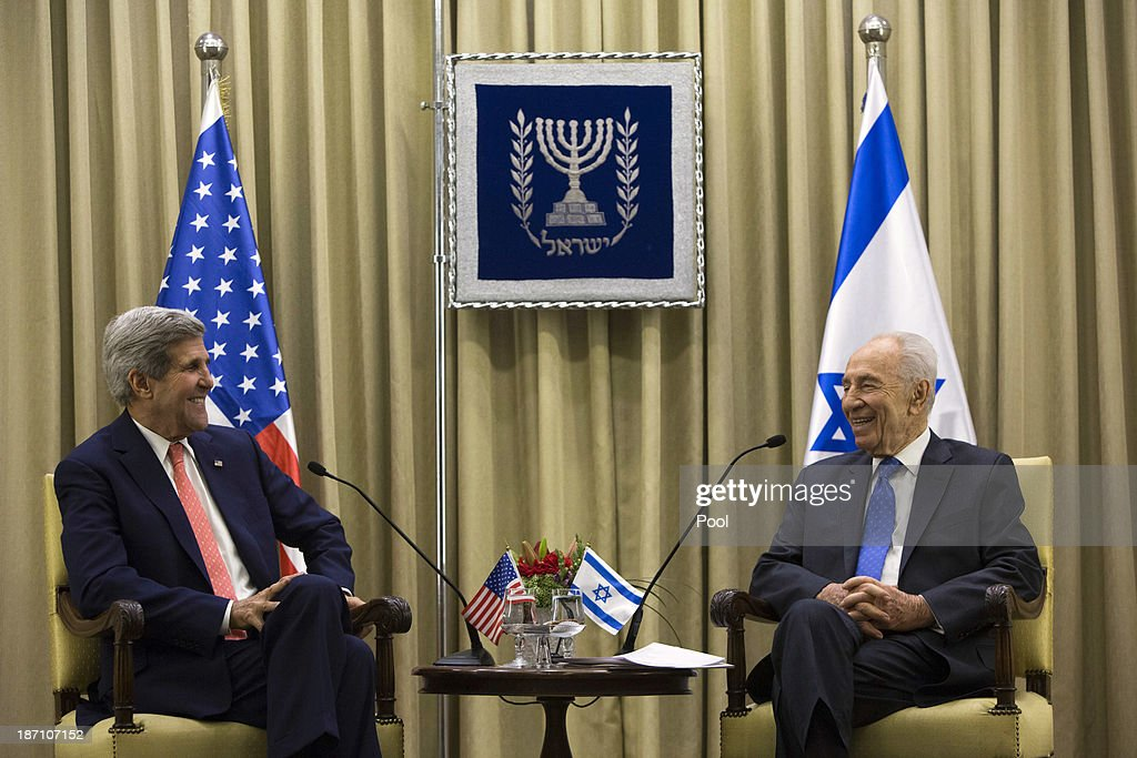 U.S. Secretary of State <a gi-track='captionPersonalityLinkClicked' href=/galleries/search?phrase=John+Kerry&family=editorial&specificpeople=154885 ng-click='$event.stopPropagation()'>John Kerry</a> (L) meets with Israeli President <a gi-track='captionPersonalityLinkClicked' href=/galleries/search?phrase=Shimon+Peres&family=editorial&specificpeople=201775 ng-click='$event.stopPropagation()'>Shimon Peres</a> at the Israeli leader's residence November 6, 2013 in Jerusalem, Israel. Kerry also met yesterday with Israeli Prime Minister Benjamin Netanyahu and Palestinian President Mahmoud Abbas in an effort to boost Israeli-Palestinian peace talks.