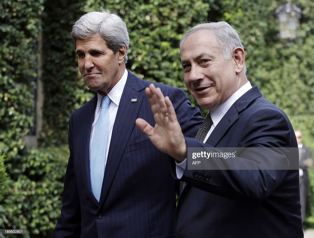 US Secretary of State John Kerry (L) meets with Israeli Prime Minister Benjamin Netanyahu at Villa Taverna, the US Ambassador's residency in Rome, on October 23, 2013.