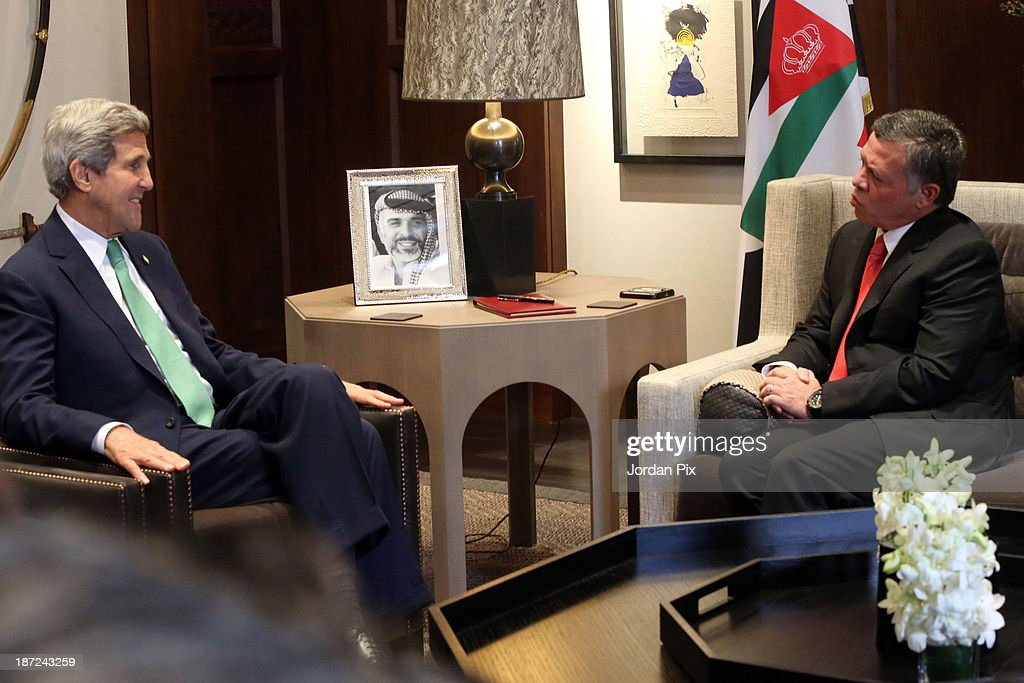 U.S. Secretary of State <a gi-track='captionPersonalityLinkClicked' href=/galleries/search?phrase=John+Kerry&family=editorial&specificpeople=154885 ng-click='$event.stopPropagation()'>John Kerry</a> (L) meets with Jordanian King Abdullah II at the royal palace November 7, 2013 in Amman, Jordan. Kerry met with King Abdullah II and Foreign Minister Nasser Judeh in Jordan after previously meeting with Israeli and Palestinian leaders during a trip to the Middle East in an effort to boost Israeli-Palestinian peace talks.