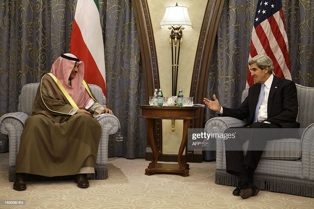 U.S. Secretary of State John Kerry (R) meets with Kuwaiti Foreign Minister Sheikh Sabah al-Sabah at a hotel in the Saudi capital Riyadh on March 4, 2013. Saudi Arabia is the seventh leg of Kerry's first official overseas trip.