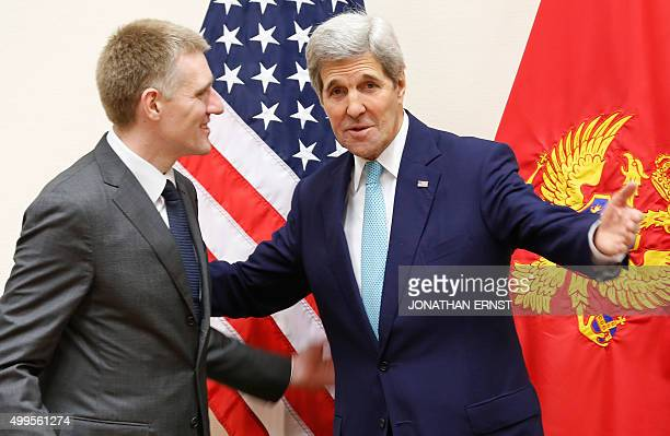 US Secretary of State John Kerry meets with Montenegro's Foreign Minister Igor Luksic during the NATO ministerial meetings at the NATO headquarters...