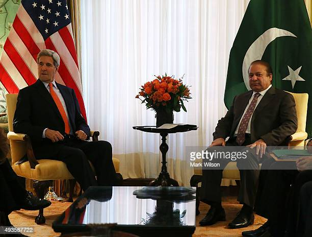 Secretary of State John Kerry meets with Pakistani Prime Minister Nawaz Sharif on October 21 2015 in Washington DC The two diplomats participated in...