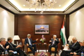 S Secretary of State John Kerry meets with Palestinian President Mahmud Abbas at the Mukataa compound on July 19 2013 in Ramallah West Bank Kerry...