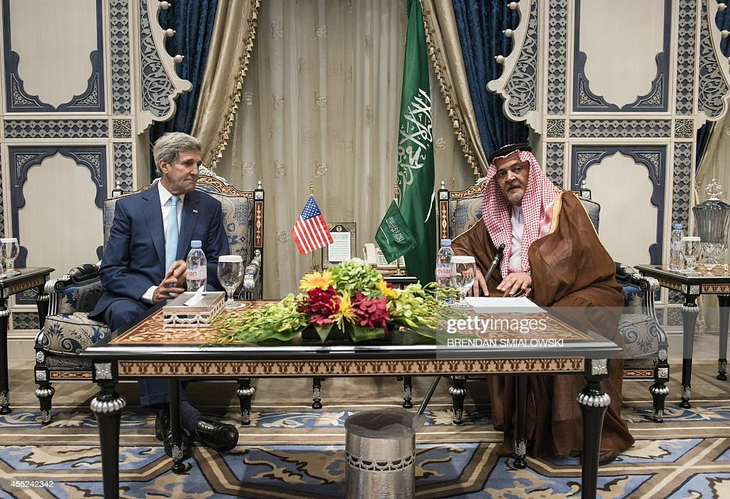 US Secretary of State <a gi-track='captionPersonalityLinkClicked' href=/galleries/search?phrase=John+Kerry&family=editorial&specificpeople=154885 ng-click='$event.stopPropagation()'>John Kerry</a> meets with Prince Saud al-Faisal, foreign minister of Saudi Arabia, at King Abdulaziz International Airport Royal Terminal on September 11, 2014 in Jeddah. Kerry arrived in the Saudi city of Jeddah for talks aimed at building a coalition with Arab states and Turkey against Islamic State (IS) jihadists.