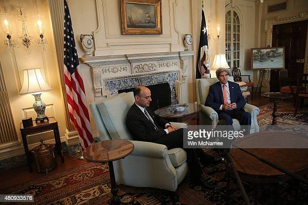 S Secretary of State John Kerry meets with Saudi Arabian Ambassador to the United States Adel bin Ahmed AlJubeir at the State Department July 16 2015...
