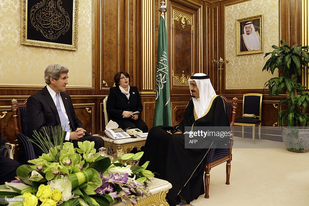 US Secretary of State John Kerry (L) meets with Saudi Deputy Foreign Minister Prince Abdulaziz bin Abdullah at Yamamah Palace in the Saudi capital Riyadh on March 4, 2013. Saudi Arabia is the seventh leg of Kerry's first official overseas trip. AFP PHOTO / POOL / JACQUELYN MARTIN