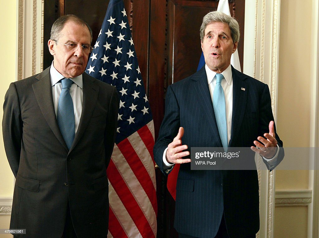 US Secretary of State John Kerry (R) meets with the Russian foreign minister Sergey Lavrov (L) at the US Ambassadors Residence for talks on the current political situation in the Ukraine, on March 14, 2014 in London, England. Mr Kerry will meet with his Russian counterpart Sergei Lavrov to discuss the Ukrainian crisis situation ahead of a disputed referendum in Crimea on Sunday.
