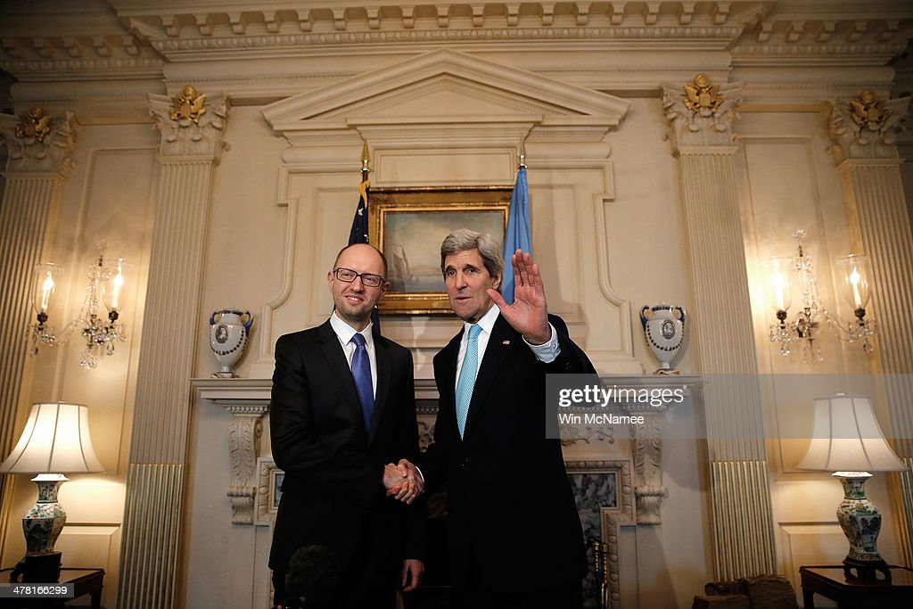 U.S. Secretary of State <a gi-track='captionPersonalityLinkClicked' href=/galleries/search?phrase=John+Kerry&family=editorial&specificpeople=154885 ng-click='$event.stopPropagation()'>John Kerry</a> (R) meets with Ukrainian Prime Minister <a gi-track='captionPersonalityLinkClicked' href=/galleries/search?phrase=Arseniy+Yatsenyuk&family=editorial&specificpeople=4204919 ng-click='$event.stopPropagation()'>Arseniy Yatsenyuk</a> (L) at the State Department March 12, 2014 in Washington, DC. Yatsenyuk is scheduled to meet later in the day with U.S. President Barack Obama at the White House.