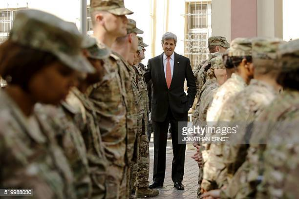US Secretary of State John Kerry meets with US military personnel at Resolute Support Headquarters in Kabul on April 9 2016 / AFP / POOL / JONATHAN...