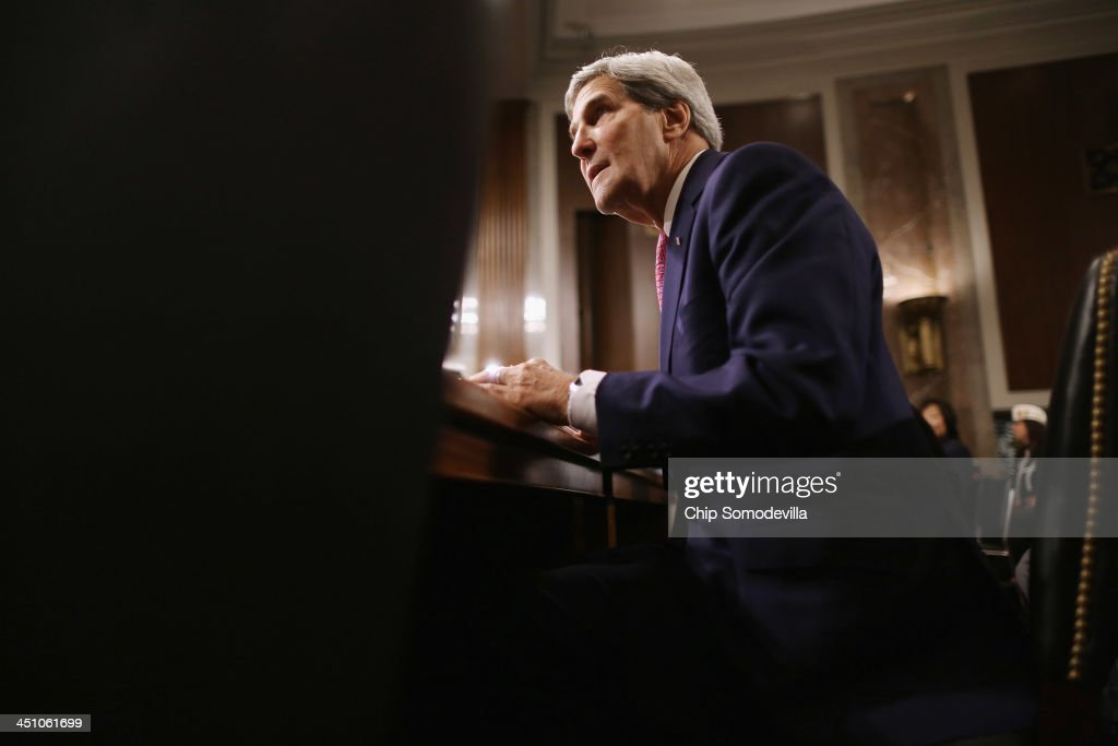 U.S. Secretary of State <a gi-track='captionPersonalityLinkClicked' href=/galleries/search?phrase=John+Kerry&family=editorial&specificpeople=154885 ng-click='$event.stopPropagation()'>John Kerry</a> prepares to testifies before the Senate Foreign Relations Committee about the Convention on the Rights of Persons with Disabilities in the Dirksen Senate Office Building on Capitol Hill November 21, 2013 in Washington, DC. Kerry encouraged the committee to vote for adoption of the treaty which he says will bring standards enjoyed by handicapped and disabled people in the United States to the international community.