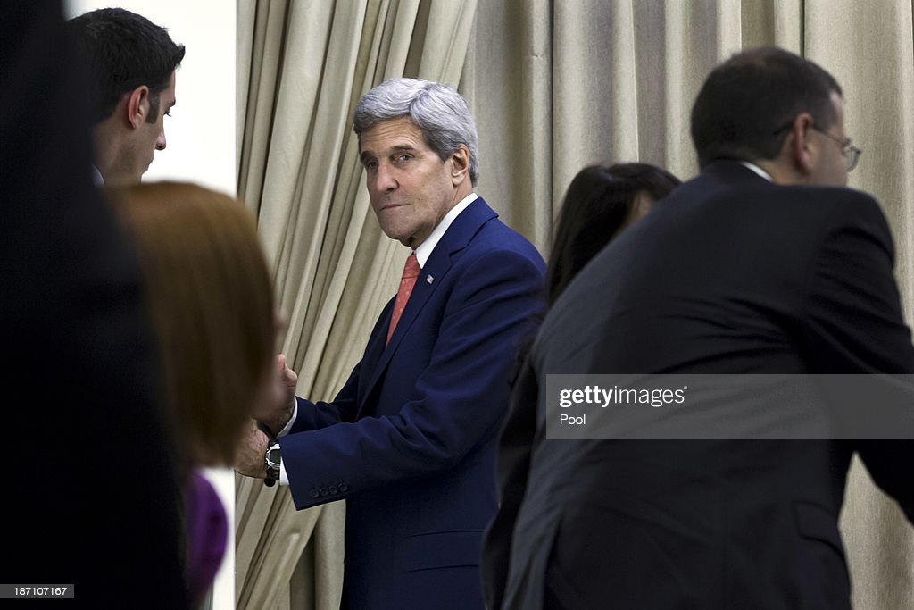 U.S. Secretary of State <a gi-track='captionPersonalityLinkClicked' href=/galleries/search?phrase=John+Kerry&family=editorial&specificpeople=154885 ng-click='$event.stopPropagation()'>John Kerry</a> retires to a one-on-one meeting with Israeli President Shimon Peres after the two met with their delegations and made statements at the Israeli leader's residence November 6, 2013 in Jerusalem, Israel. Kerry also met yesterday with Israeli Prime Minister Benjamin Netanyahu and Palestinian President Mahmoud Abbas in an effort to boost Israeli-Palestinian peace talks.