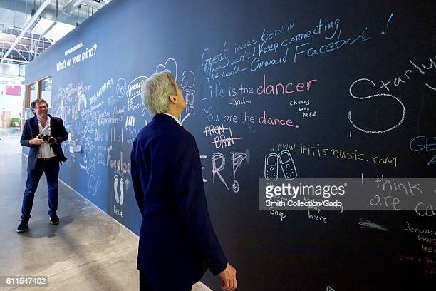 US Secretary of State John Kerry reviewing his message on the Facebook wall at their headquarters Menlo Park California June 23 2016 Image courtesy...