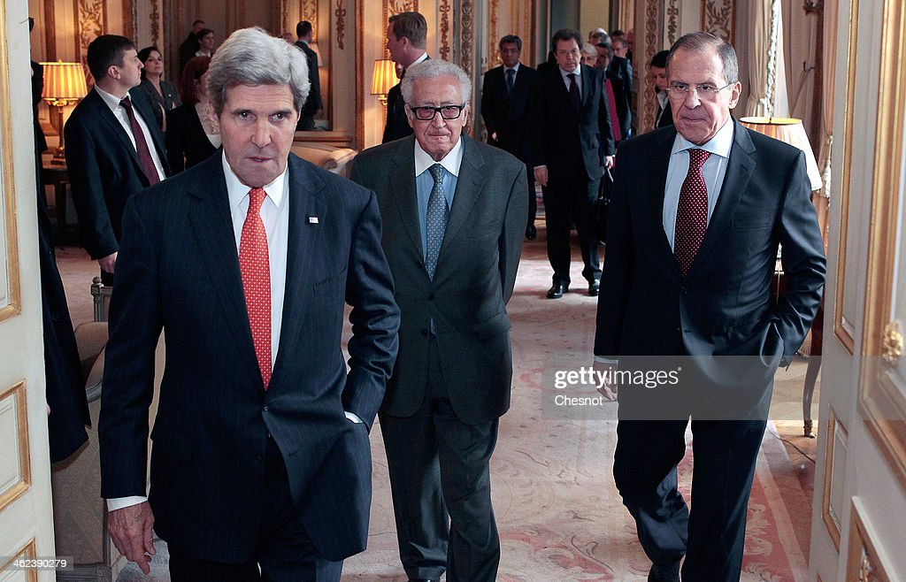 US Secretary of State <a gi-track='captionPersonalityLinkClicked' href=/galleries/search?phrase=John+Kerry&family=editorial&specificpeople=154885 ng-click='$event.stopPropagation()'>John Kerry</a> (L), Russia's Foreign affairs minister Serguei Lavrov (R) and UN-Arab League envoy for Syria <a gi-track='captionPersonalityLinkClicked' href=/galleries/search?phrase=Lakhdar+Brahimi&family=editorial&specificpeople=226950 ng-click='$event.stopPropagation()'>Lakhdar Brahimi</a> (C) arrive for a press conference following their meeting at the US ambassador's residence on January 13, 2014 in Paris, France. <a gi-track='captionPersonalityLinkClicked' href=/galleries/search?phrase=John+Kerry&family=editorial&specificpeople=154885 ng-click='$event.stopPropagation()'>John Kerry</a> is in Paris for meetings on Syria to rally international support for ending the three-year civil war in Syria.