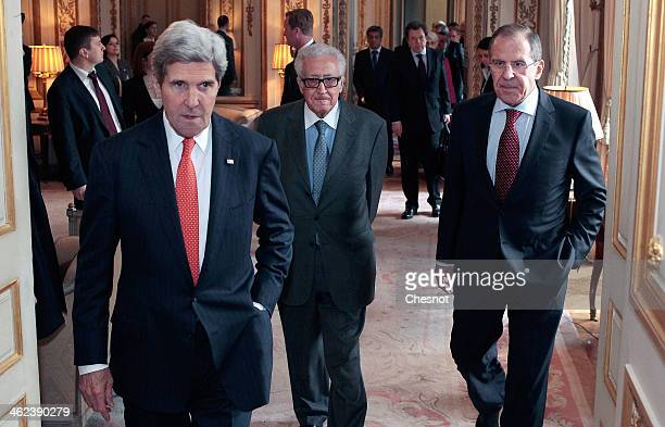 Secretary of State John Kerry Russia's Foreign affairs minister Serguei Lavrov and UNArab League envoy for Syria Lakhdar Brahimi arrive for a press...