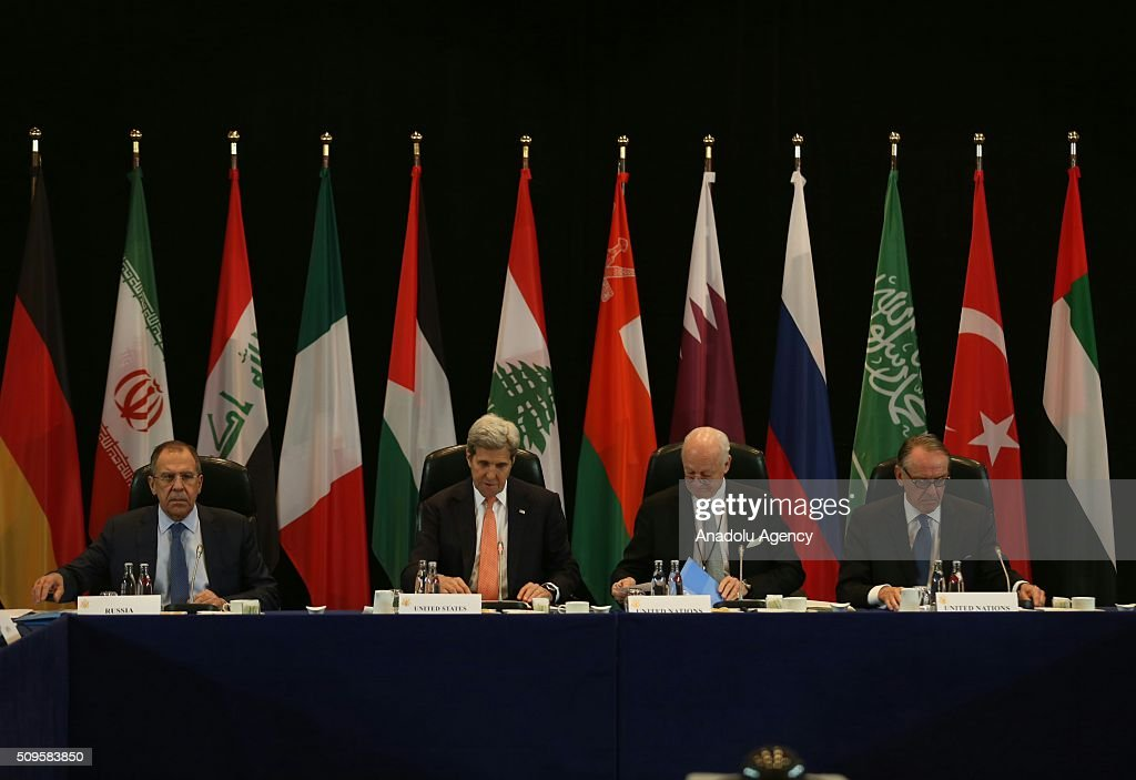 US Secretary of State John Kerry (left 2), Russia's Foreign Minister Sergei Lavrov (left) and Staffan de Mistura (right 2), UN Secretary-General's Special Envoy for Syria, are seen during the International Syrian Support Group Meeting in Munich, on February 11, 2016.