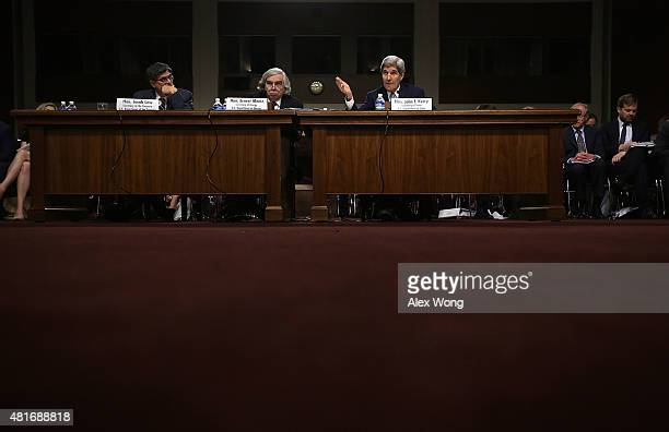 US Secretary of State John Kerry Secretary of Energy Ernest Moniz and Secretary of the Treasury Jacob Lew testify during a hearing before the Senate...