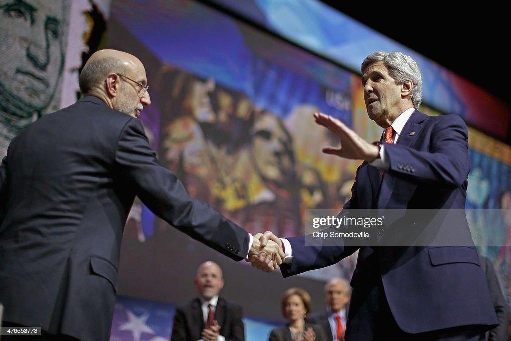 U.S. Secretary of State <a gi-track='captionPersonalityLinkClicked' href=/galleries/search?phrase=John+Kerry&family=editorial&specificpeople=154885 ng-click='$event.stopPropagation()'>John Kerry</a> (R) shakes hands with American Israel Public Affairs Committee President-elect Robert Cohen after delivering remarks during the AIPAC Policy Conference at the Walter Washington Convention Center March 3, 2014 in Washington, DC. Kerry is scheduled to leave directly from the AIPAC conference to travel to Kiev to meet with members of Ukraine's new government.