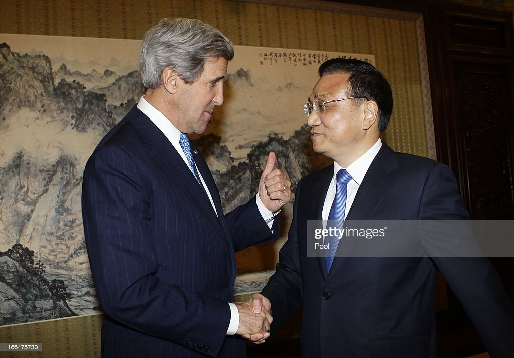 U.S. Secretary of State John Kerry shakes hands with China's Premier Li Keqiang during a meeting at the Zhongnanhai compound on April 13, 2013 in Beijing, China. Kerry is on a tour of Asia, visiting South Korea, China and Japan and will discuss issues surrounding North Korea.