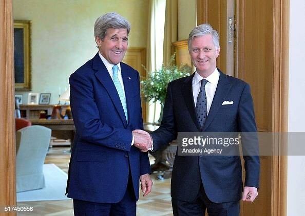 Secretary of State John Kerry shakes hands with King Philippe of Belgium before their meeting at the Royal Palace in Brussels Belgium on March 25 2016