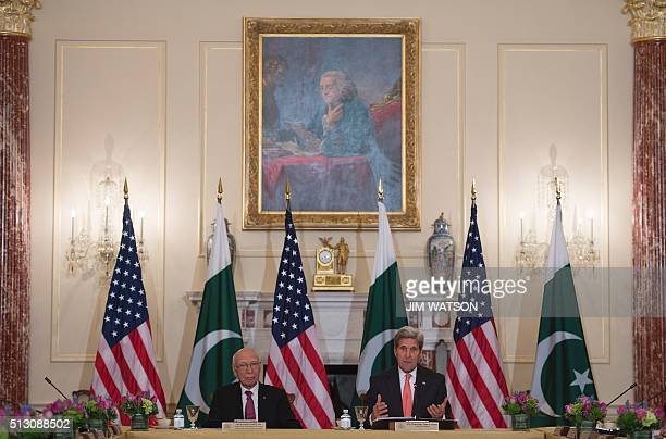 US Secretary of State John Kerry speaks along side Pakistani Foreign Minister Sartaj Aziz during their annual partnership dialogue February 29 2016...
