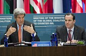 US Secretary of State John Kerry speaks alongside Brett McGurk Special Presidential Envoy for the Global Coalition to Counter ISIL during a meeting...
