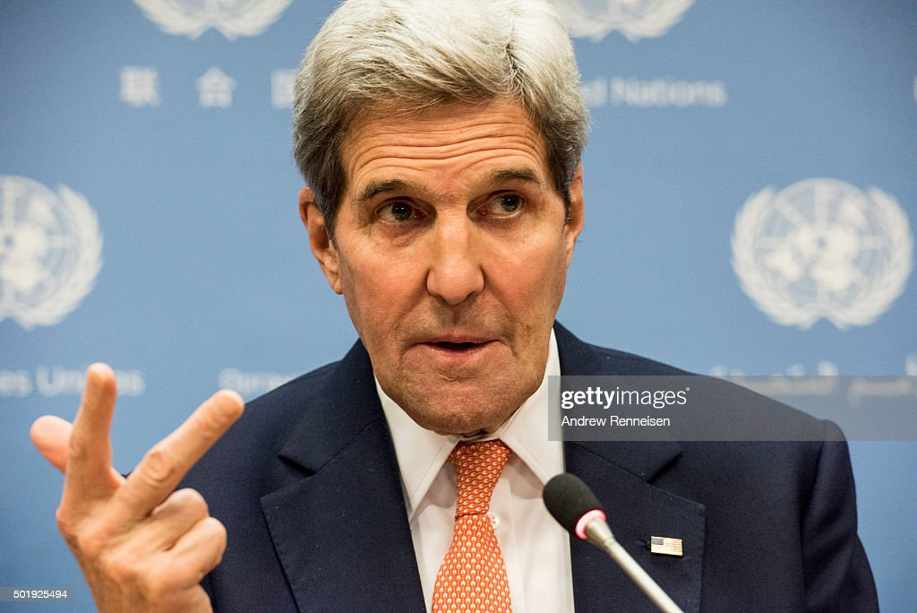 Secretary of State <a gi-track='captionPersonalityLinkClicked' href=/galleries/search?phrase=John+Kerry&family=editorial&specificpeople=154885 ng-click='$event.stopPropagation()'>John Kerry</a> speaks at a news conference after a United Nations Security Council meeting on Syria at the United Nations in New York on December 18, 2015. 20 nations from around the world gathered to discuss the ongoing conflict.