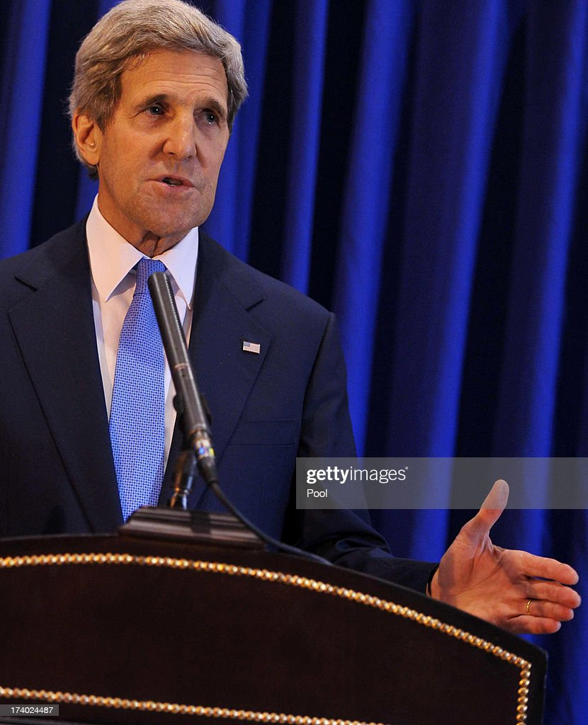 U.S. Secretary of State John Kerry speaks at a press conference at Queen Alia International Airport July 19, 2013 in Amman, Jordan. Kerry flew by helicopter to the West Bank from Jordan to meet with Palestinian president Mahmud Abbas in a final push to get a peace bid back on track.