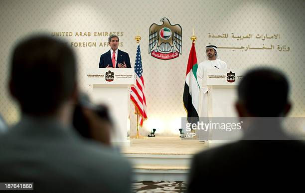 US Secretary of State John Kerry speaks at a press conference with UAE Foreign Minister Abdullah bin Zayed alNahyan at the Foreign Ministry in Abu...