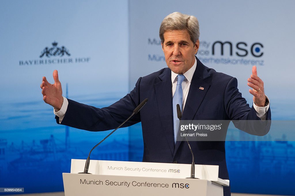 US Secretary of State <a gi-track='captionPersonalityLinkClicked' href=/galleries/search?phrase=John+Kerry&family=editorial&specificpeople=154885 ng-click='$event.stopPropagation()'>John Kerry</a> speaks at the 2016 Munich Security Conference at the Bayerischer Hof hotel on February 13, 2016 in Munich, Germany. The annual event brings together government representatives and security experts from across the globe and this year the conflict in Syria will be the main issue under discussion.