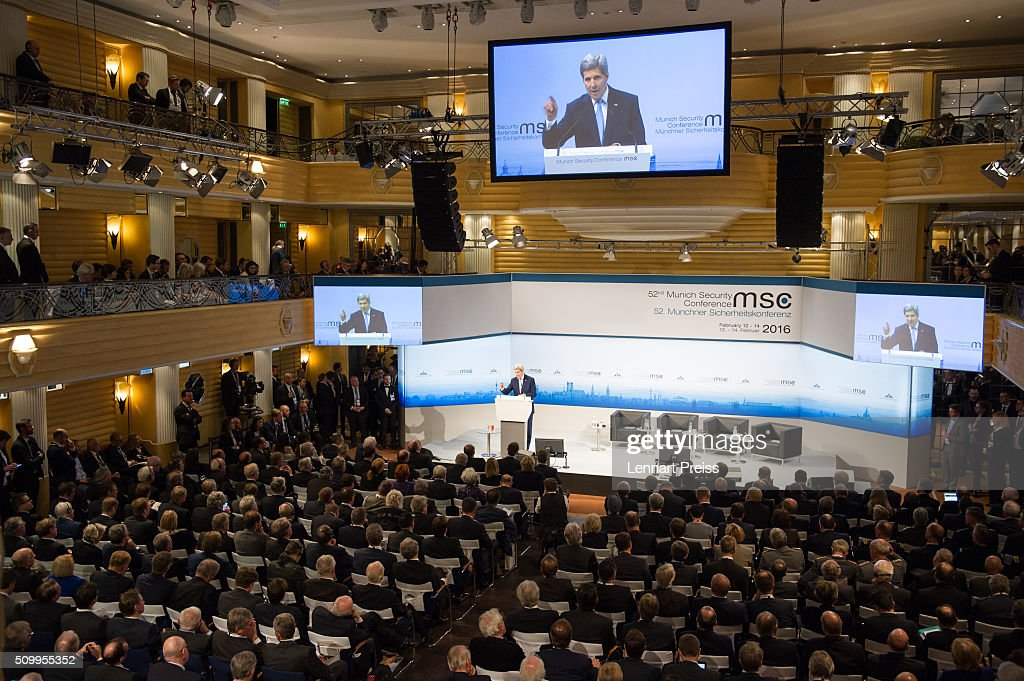 US Secretary of State John Kerry speaks at the 2016 Munich Security Conference at the Bayerischer Hof hotel on February 13, 2016 in Munich, Germany. The annual event brings together government representatives and security experts from across the globe and this year the conflict in Syria will be the main issue under discussion.