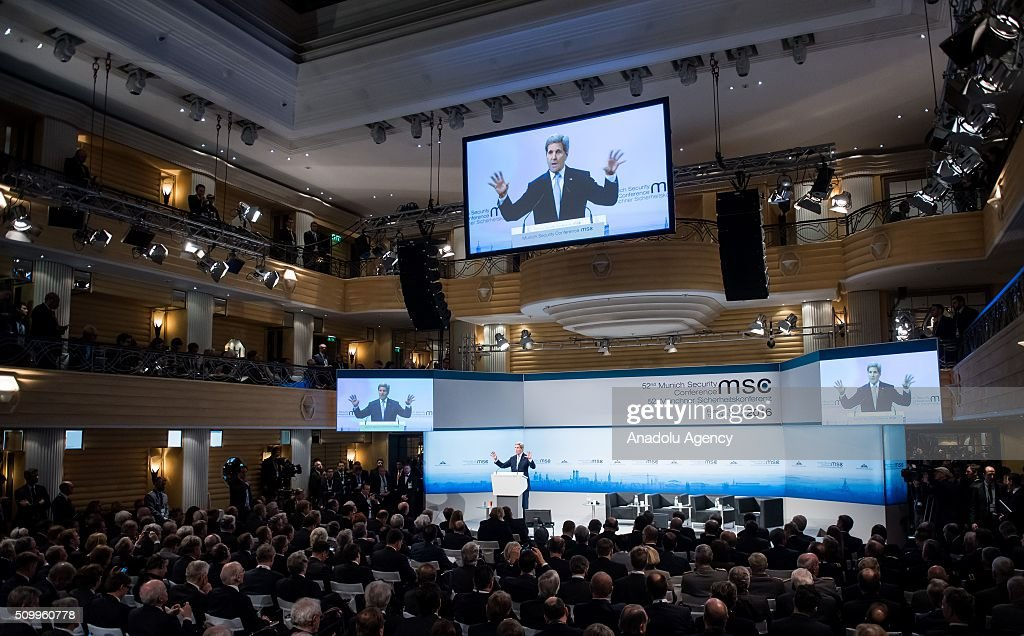 U.S. Secretary of State John Kerry speaks at the 2016 Munich Security Conference at the Bayerischer Hof hotel on February 13, 2016 in Munich, Germany. The annual event brings together government representatives and security experts from across the globe and this year the conflict in Syria will be the main issue under discussion.