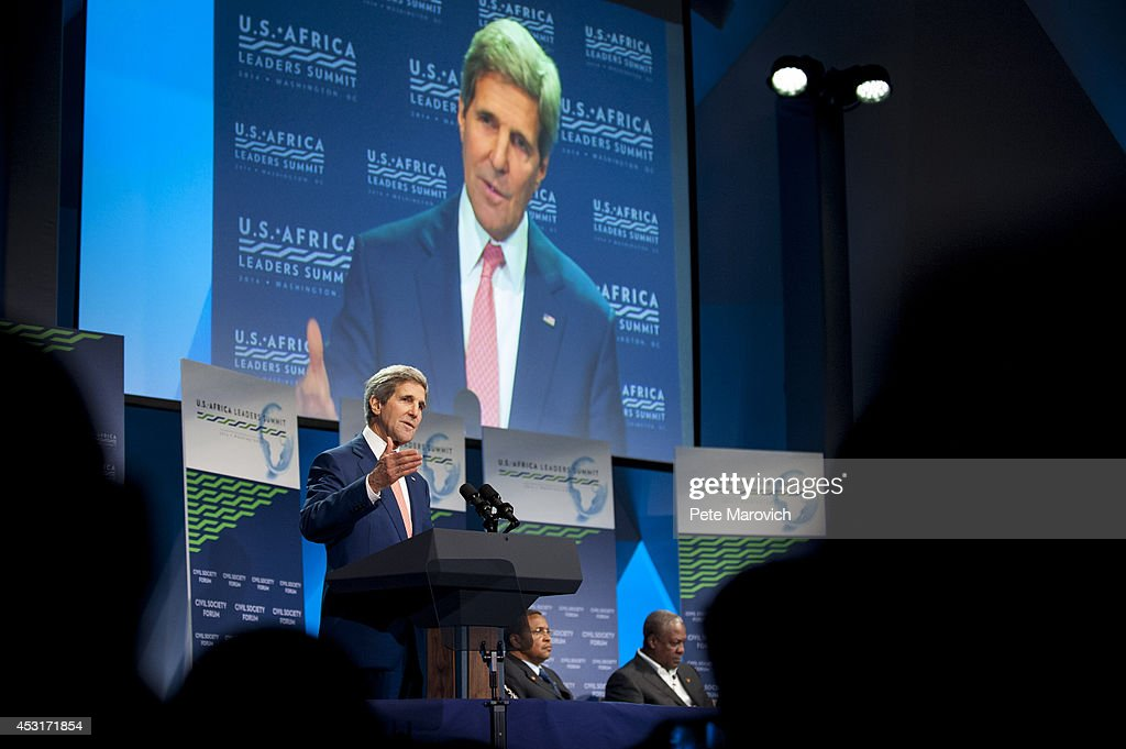 U.S. Secretary of State John Kerry speaks at the Civil Society Forum at the National Academy of Sciences as part of the first U.S.-Africa Leaders Summit on August 4, 2014 in Washington, DC. The event is set to promote business relationships between the United States and African countries during the first-ever leaders summit, where 49 heads of state will be meeting in Washington over the next three days.