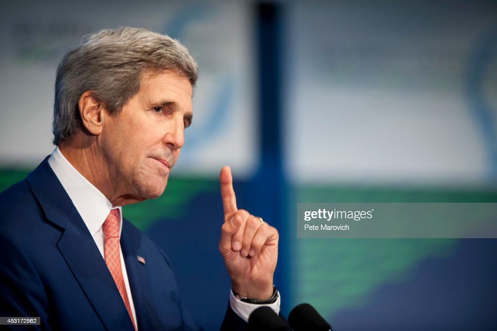 U.S. Secretary of State <a gi-track='captionPersonalityLinkClicked' href=/galleries/search?phrase=John+Kerry&family=editorial&specificpeople=154885 ng-click='$event.stopPropagation()'>John Kerry</a> speaks at the Civil Society Forum at the National Academy of Sciences as part of the first U.S.-Africa Leaders Summit on August 4, 2014 in Washington, DC. The event is set to promote business relationships between the United States and African countries during the first-ever leaders summit, where 49 heads of state will be meeting in Washington over the next three days.