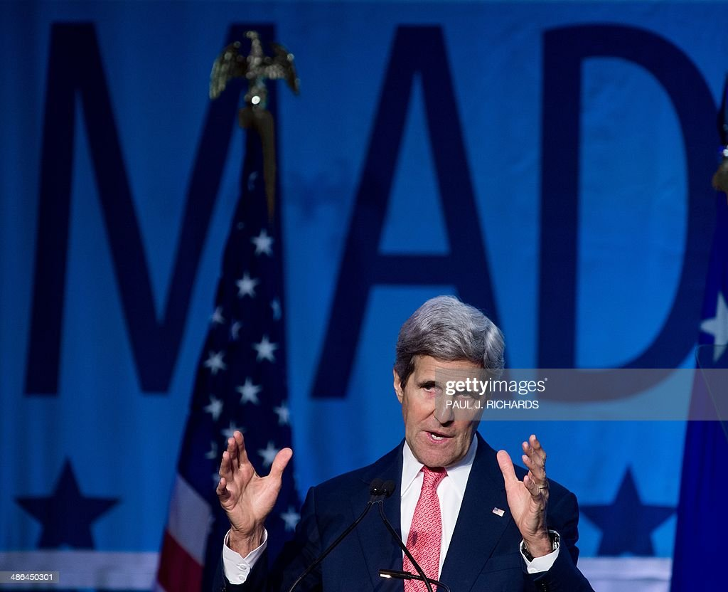 US Secretary of State John Kerry speaks at the ExportImport Bank 2014 Annual Conference April 24 in Washington DC The theme of this year's conference...