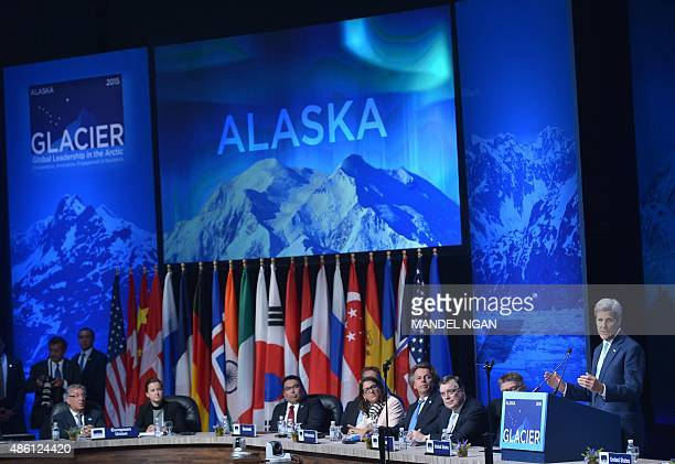 US Secretary of State John Kerry speaks at the Global Leadership in the Arctic Cooperation Innovation Engagement and Resilience Conference in the...