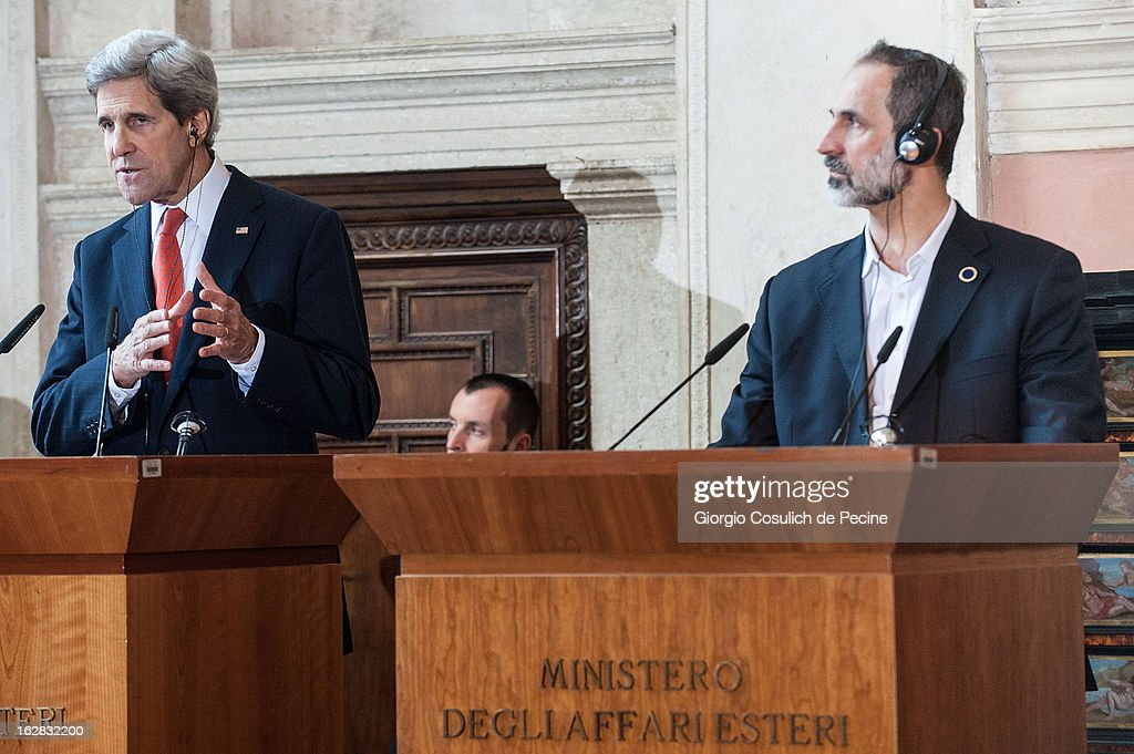 US Secretary of State <a gi-track='captionPersonalityLinkClicked' href=/galleries/search?phrase=John+Kerry&family=editorial&specificpeople=154885 ng-click='$event.stopPropagation()'>John Kerry</a> (L) speaks beside Syrian opposition's National Coalition chief Ahmed Moaz al-Khatib during a press conference after the meeting of the 'Friends of the Syrian People' at Villa Madama on February 28, 2013 in Rome, Italy. Kerry stated that the opposition needs 'more help' in the fight against President Bashar Hafez al-Assad. The new US Secretary of State is on his first trip and is visiting nine nations in Europe and the Middle East.