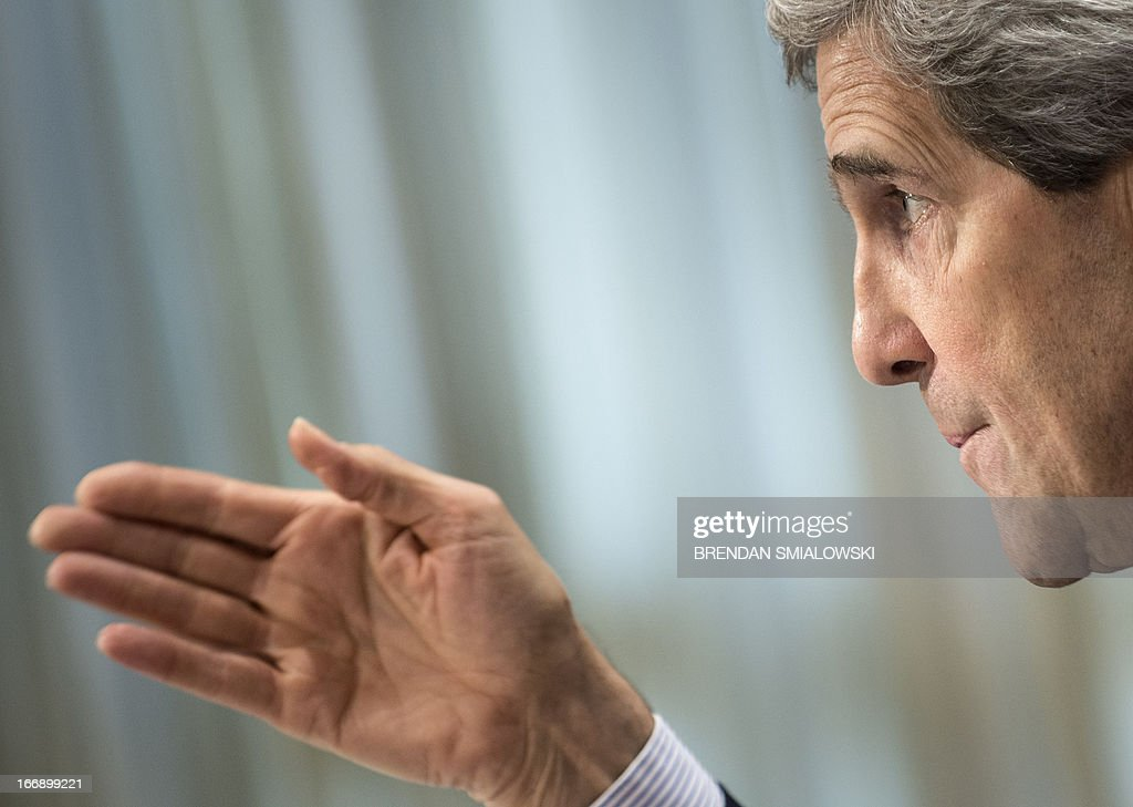 US Secretary of State John Kerry speaks during a hearing of the Senate Foreign Relations Committee on Capitol Hill on April 18, 2013 in Washington, DC. Kerry appeared before the committee to testify about the administration's FY2014 international affairs budget. AFP PHOTO/Brendan SMIALOWSKI