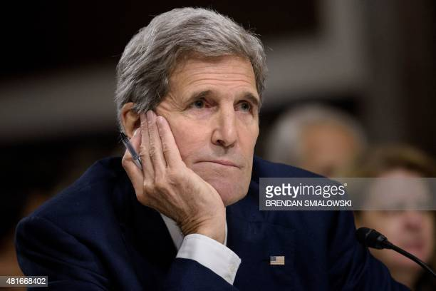 US Secretary of State John Kerry speaks during a hearing of the Senate Foreign Relations Committee on Capitol Hill July 23 2015 in Washington DC US...