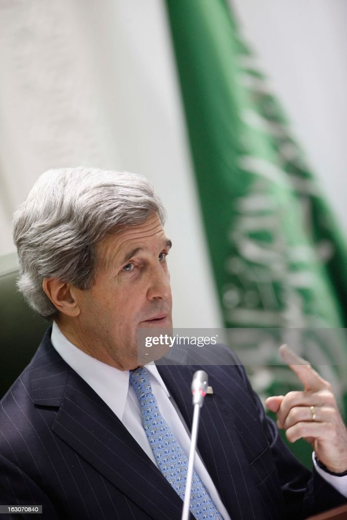 U.S. Secretary of State John Kerry speaks during a joint press conference with his counterpart Saudi's Prince Saud al-Faisal at the press hall in the Saudi Foreign Ministry in Riyadh, on March 4, 2013. Saudi Arabia is the seventh leg of Kerry's first official overseas trip.