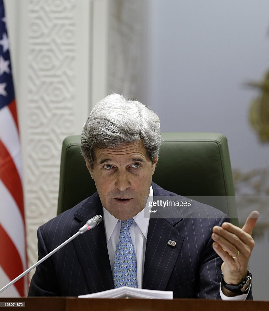US Secretary of State John Kerry speaks during a joint press conference with his counterpart Saudi's Prince at the press hall in the Saudi Foreign Ministry in Riyadh, on March 4, 2013. Saudi Arabia is the seventh leg of Kerry's first official overseas trip.