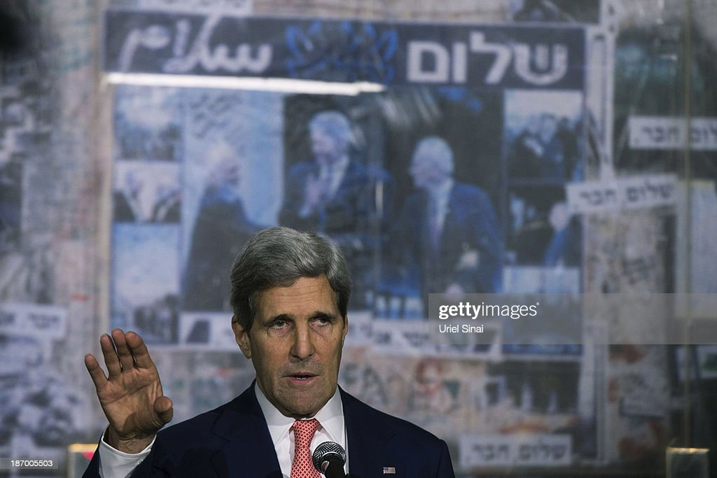 U.S. Secretary of State John Kerry speaks during a memorial service at the site Israel's former Prime Minister Yitzhak Rabin's assassination on November 05, 2013 in Tel Aviv, Israel. Kerry is in the region to meet with both the Isaeli and Palestinian leaders.