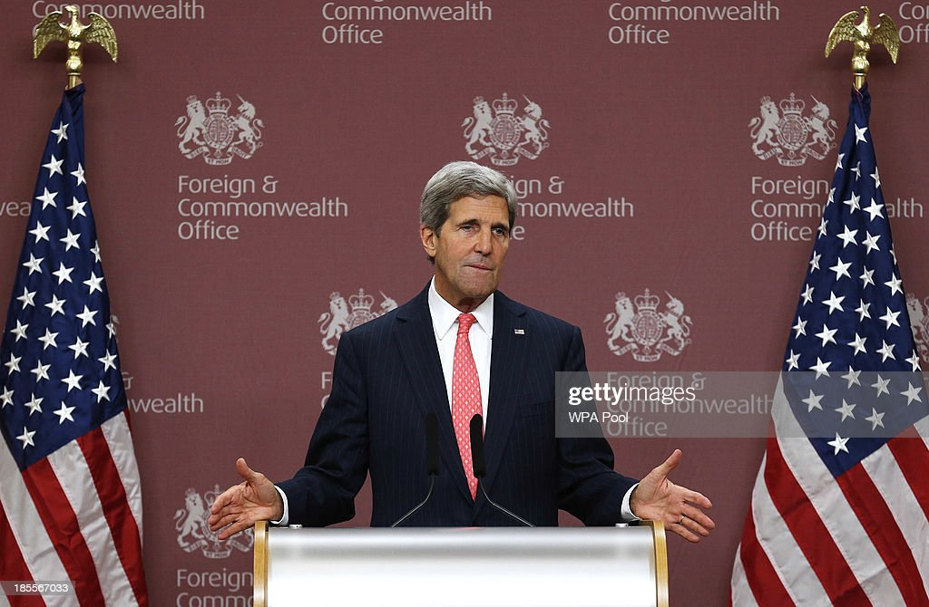 US Secretary of State <a gi-track='captionPersonalityLinkClicked' href=/galleries/search?phrase=John+Kerry&family=editorial&specificpeople=154885 ng-click='$event.stopPropagation()'>John Kerry</a> speaks during a news conference at the Foreign and Commonwealth Office on October 22, 2013 in London, England. <a gi-track='captionPersonalityLinkClicked' href=/galleries/search?phrase=John+Kerry&family=editorial&specificpeople=154885 ng-click='$event.stopPropagation()'>John Kerry</a> attended a meeting, hosted by British Foreign Secretary William Hague which brought together Foreign Ministers from the USA, Egypt, France, Germany, Italy, Jordan, Qatar, Saudi Arabia, Turkey and UAE as well as representatives from the Syrian National Coalition. Plans for talks to end the fighting in Syria were in jeopardy today after the opposition refused to attend unless President Bashar al-Assad is forced from power and a furious Saudi Arabia made clear it would no longer co-operate with the United States over the civil war.