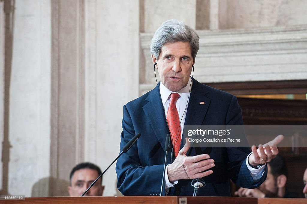 US Secretary of State John Kerry speaks during a press conference after attending the meeting of the 'Friends of the Syrian People' at Villa Madama on February 28, 2013 in Rome, Italy. Kerry stated that the opposition needs 'more help' in the fight against President Bashar Hafez al-Assad. The new US Secretary of State is on his first trip and is visiting nine nations in Europe and the Middle East.