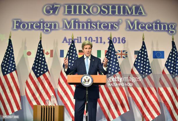 US Secretary of State John Kerry speaks during a press conference following the G7 Foreign Ministers' Meeting in Hiroshima on April 11 2016 Kerry...