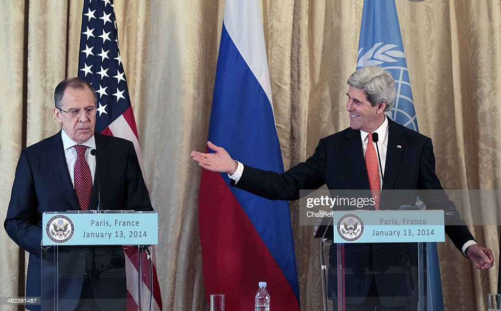 US Secretary of State <a gi-track='captionPersonalityLinkClicked' href=/galleries/search?phrase=John+Kerry&family=editorial&specificpeople=154885 ng-click='$event.stopPropagation()'>John Kerry</a> speaks during a press conference with Russia's Foreign affairs minister, Serguei Lavrov and UN-Arab League envoy for Syria Lakhdar Brahimi following their meeting at the US ambassador's residence on January 13, 2014 in Paris, France. <a gi-track='captionPersonalityLinkClicked' href=/galleries/search?phrase=John+Kerry&family=editorial&specificpeople=154885 ng-click='$event.stopPropagation()'>John Kerry</a> is in Paris for meetings on Syria to rally international support for ending the three-year civil war in Syria.